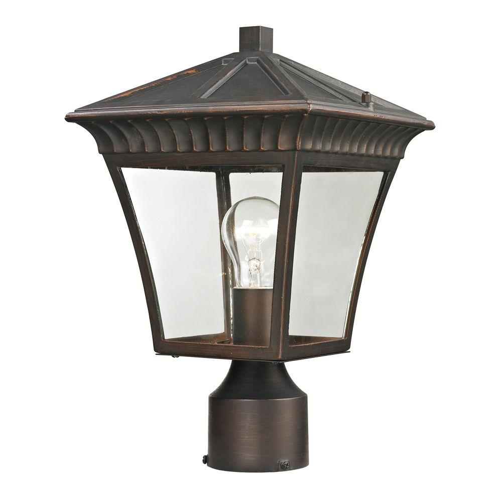 Titan Lighting Ridgewood 1-Light Outdoor Hazelnut Bronze Post Lantern