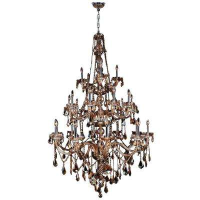 Provence Collection 25-Light Chrome Chandelier with Amber Crystal