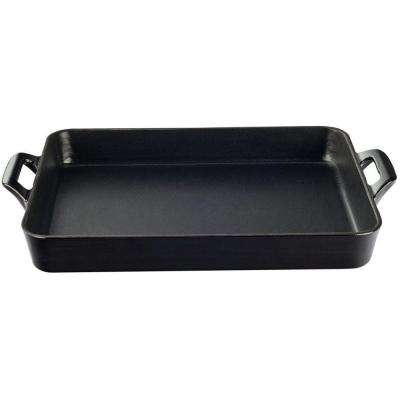 Shallow Cast Iron Roasting Pan with Enamel Finish in Black