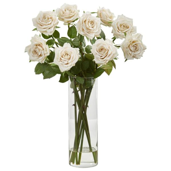 Nearly Natural Indoor Rose Artificial Arrangement in Cylinder Vase 1798-CH