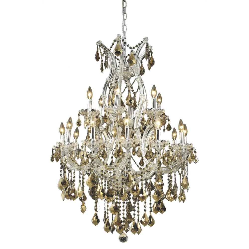 19-Light Chrome Chandelier with Golden Teak Smoky Crystal