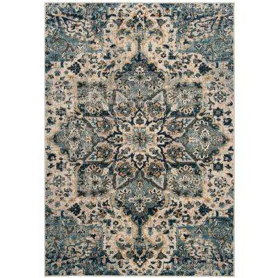 Carmel Ivory/Blue 4 ft. x 6 ft. Area Rug