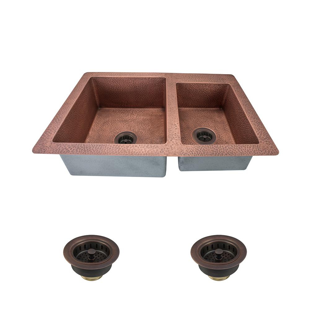 MR Direct All-in-One Undermount Copper 33 in. Double Bowl Kitchen ...