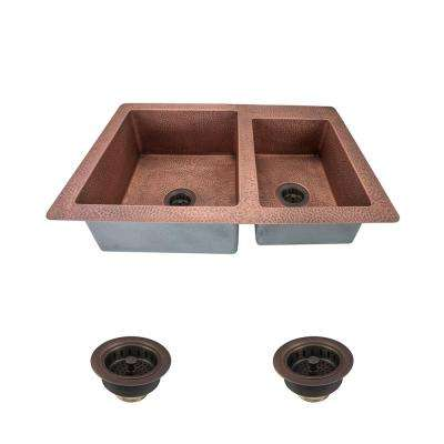 All-in-One Undermount Copper 33 in. Double Bowl Kitchen Sink