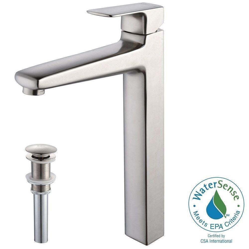 KRAUS Virtus Single Hole Single-Handle High-Arc Vessel Bathroom Faucet with Matching Pop-Up Drain in Brushed Nickel