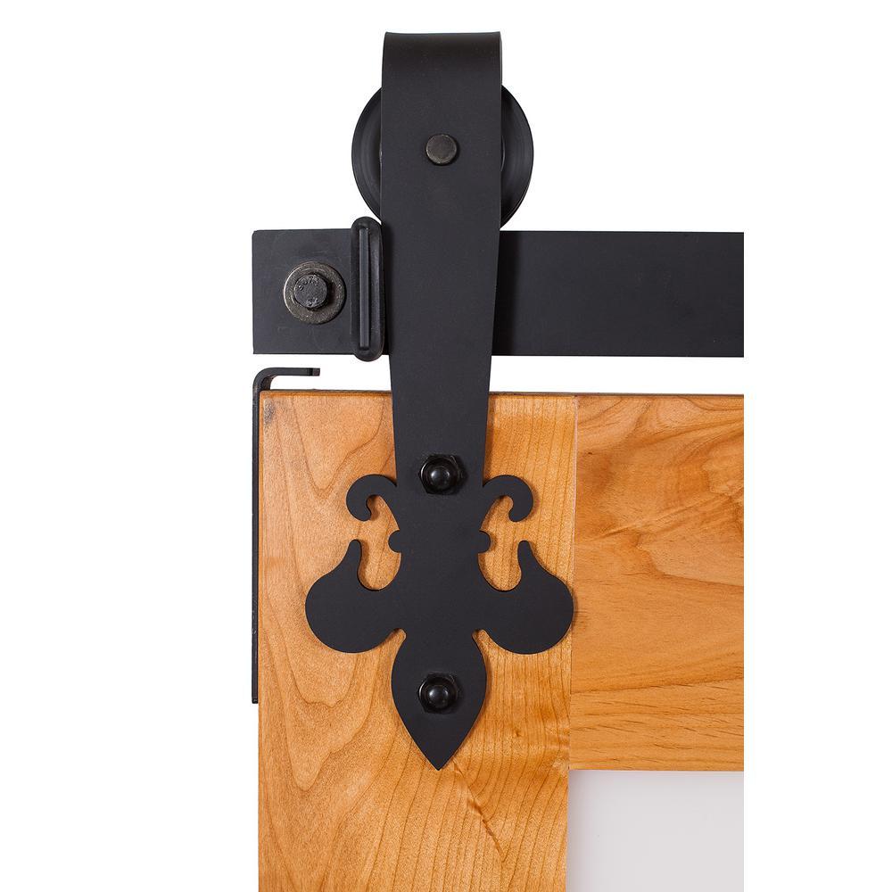 Fluer De Lis 7 ft. Track in Flat Black Barn Door Hardware-K4R274G7B ...