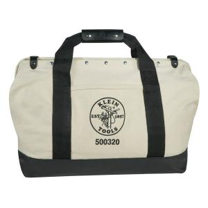 Tool Bag, Canvas with Leather Bottom, 15 Pockets, 20-Inch