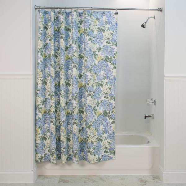 Ellis Curtain Hydrangea 72 In Blue Shower Curtain 730462412553 The Home Depot