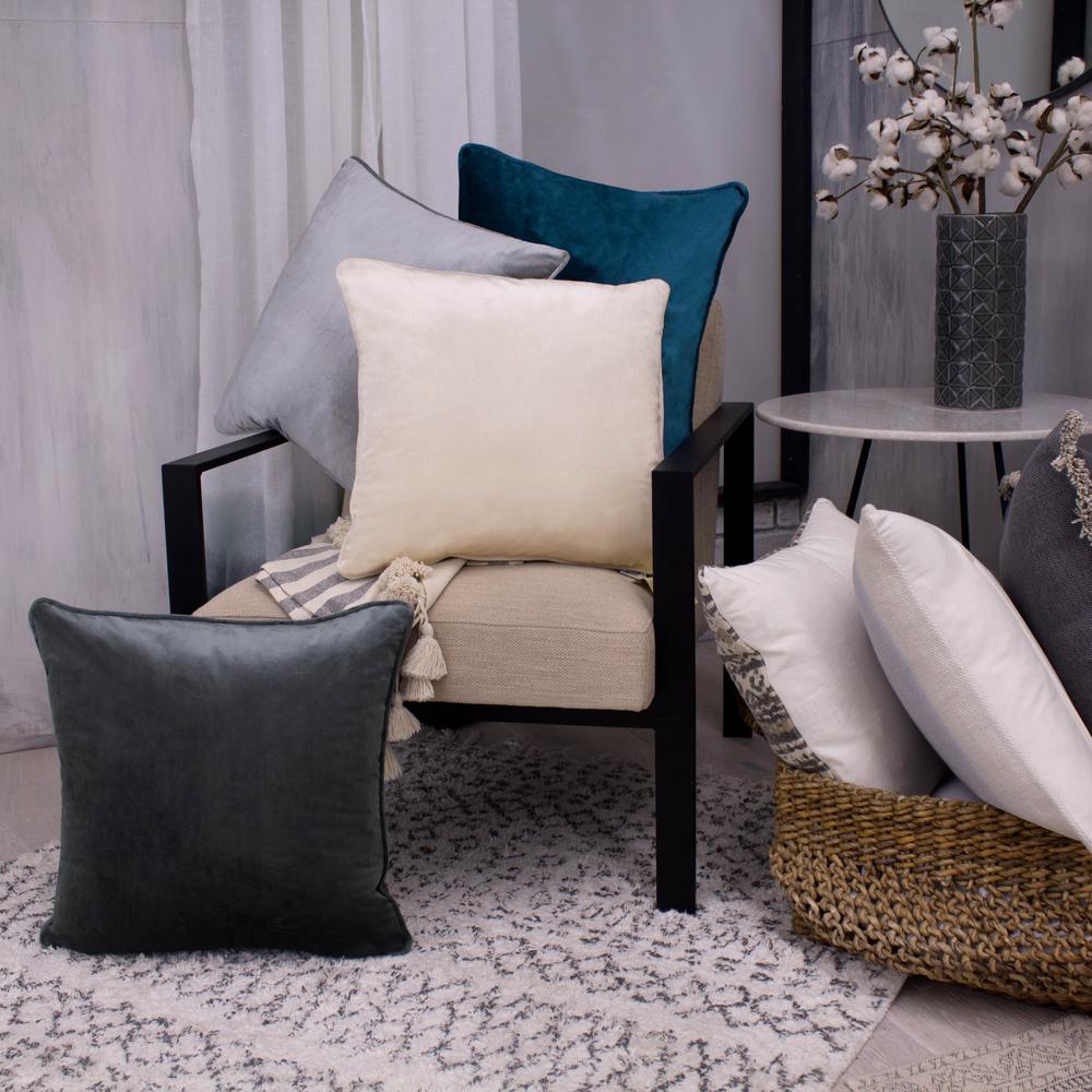 Lucas Solid Shiny Velvet Silver Decorative Pillow (2-Pack)