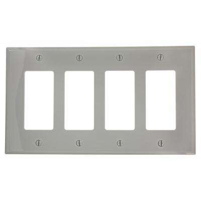 4-Gang Decora Midway Nylon Wall Plate, Gray