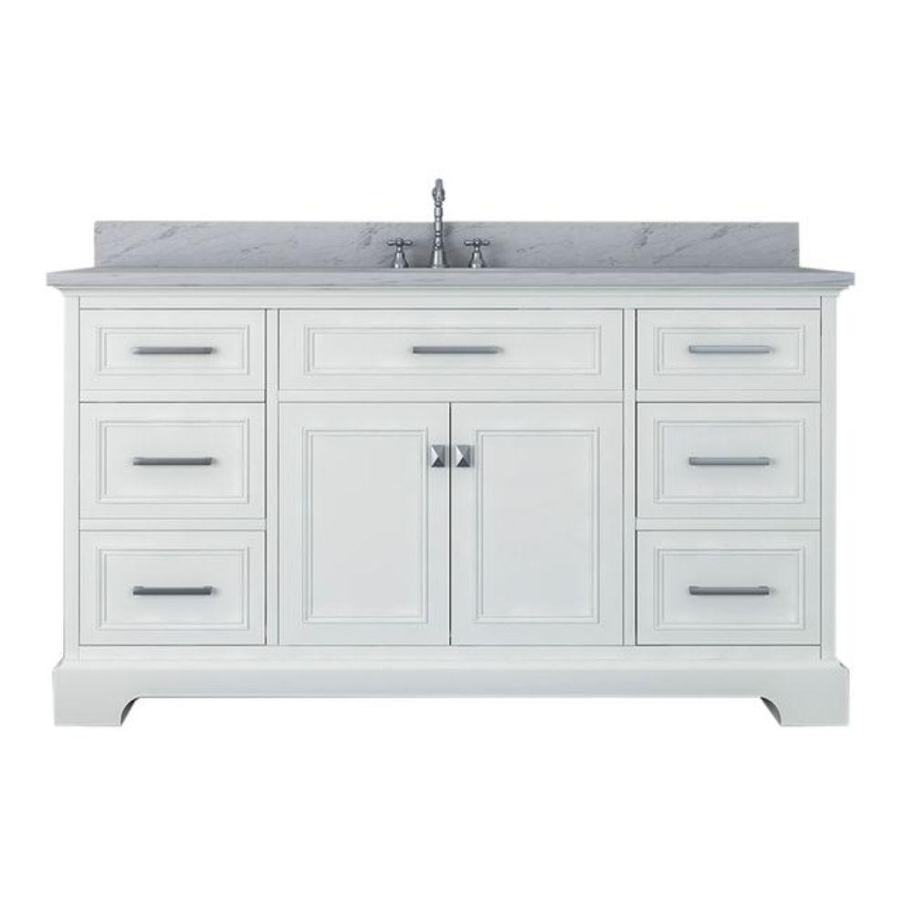Alya Bath Yorkshire 61 in. W x 22 in. D Single Bath Vanity in White with Marble Vanity Top in White with White Basin