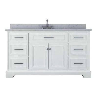 Yorkshire 61 in. W x 22 in. D Single Bath Vanity in White with Marble Vanity Top in White with White Basin