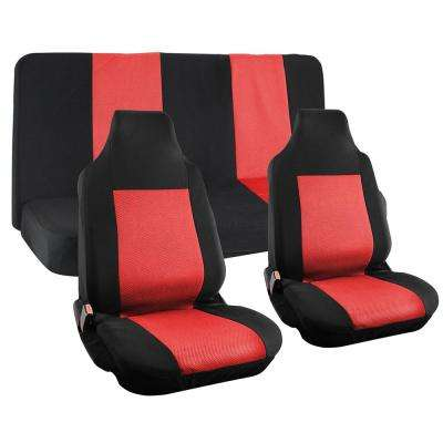 Polyester Seat Covers Set 26 in. L x 21 in. W x 48 in. H 4-Piece Seat Cover Set Integrated Bench Black and Red