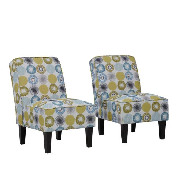 Handy Living Brodee Citron Multi-Starburst Upholstered Armless Accent Chairs