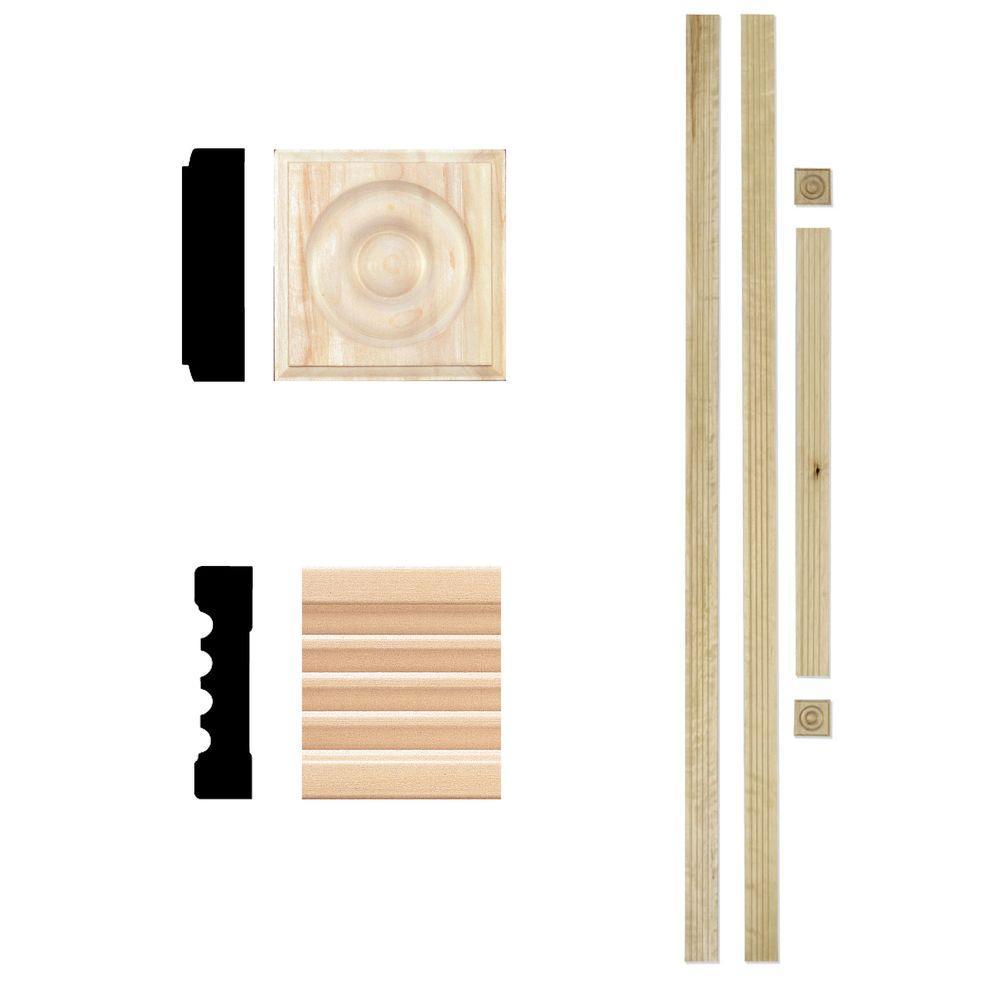 3/4 in. x 3 in. x 7 ft. Hardwood Fluted Door Trim Set Casing
