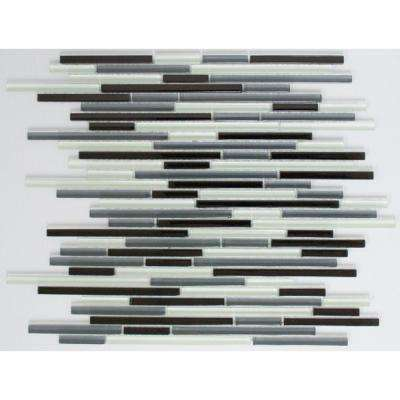 12 in. x 12 in. x 8 mm Tile Esque Black, Grey, and White Linear Glass Mesh-Mounted Mosaic Tile