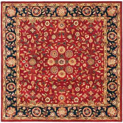 Red Border Square Area Rugs The Home Depot