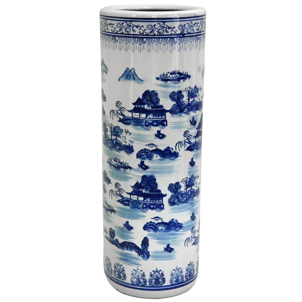 Oriental Furniture 23.5 in. Porcelain Decorative Vase in Blue