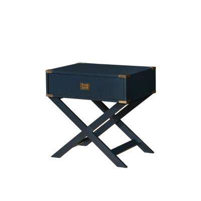 Goodyear Blue Side Table with Gold Corner Accent, X-Shaped Legs and Felt Lined Drawer