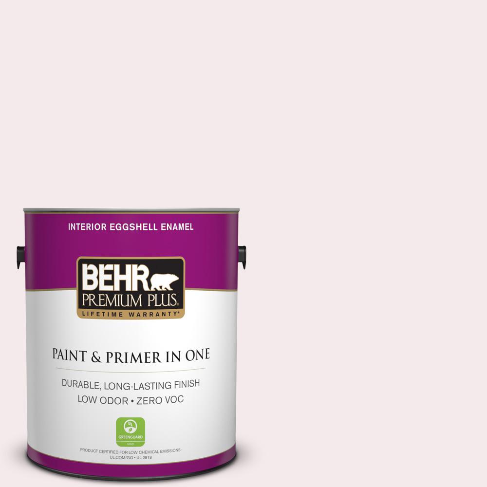 BEHR Premium Plus 1-gal. #680C-1 Wispy Pink Zero VOC Eggshell Enamel Interior Paint