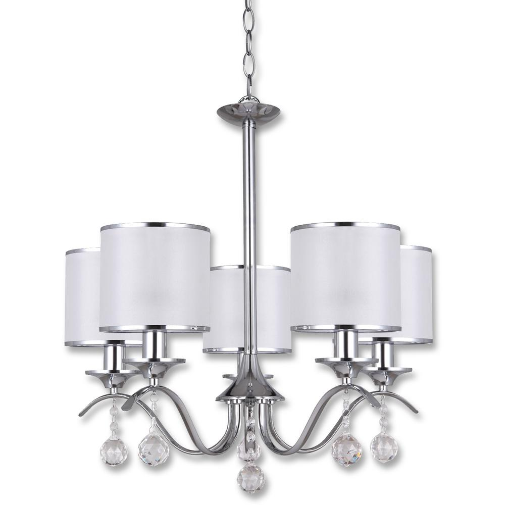 Beldi portland 5 light chrome chandelier white fabric shade 5 bulbs beldi portland 5 light chrome chandelier white fabric shade 5 bulbs arubaitofo Image collections