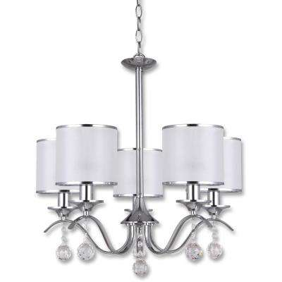 Portland 5-Light Chrome Chandelier White Fabric Shade 5 Bulbs