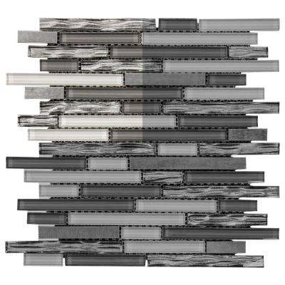 Waves of Grey 3 in. x 6 in. x 8 mm Glass/Metal Mosaic Tile Sample