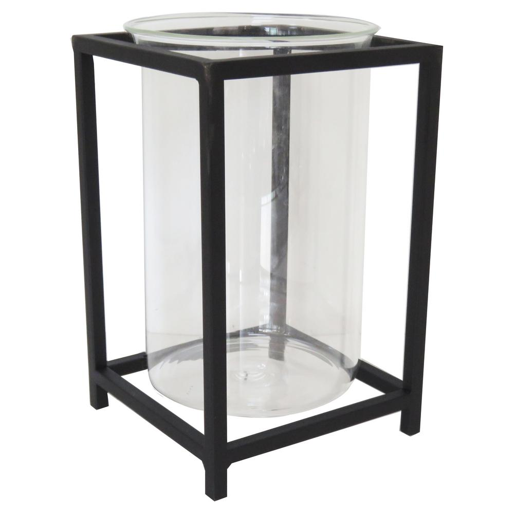 Hampton Bay 10 in. Black Metal and Glass Lantern