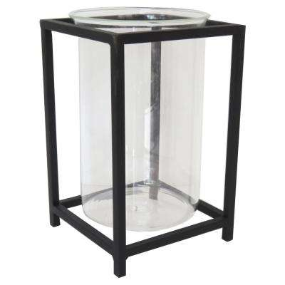 10 in. Black Metal and Glass Lantern