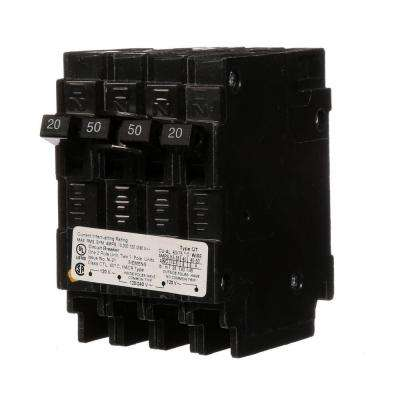 Triplex 2-Outer 20 Amp Single-Pole and 1-Inner 50 Amp Double-Pole Circuit Breaker