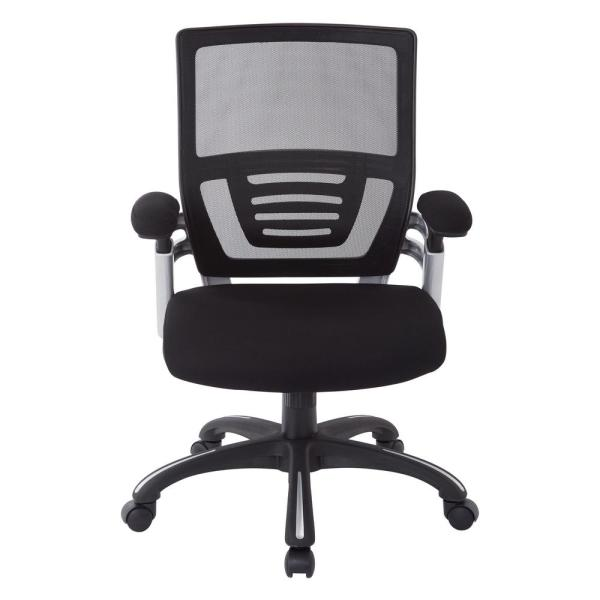 Office Star Products Black Faux Leather Manager's Chair with Mesh and