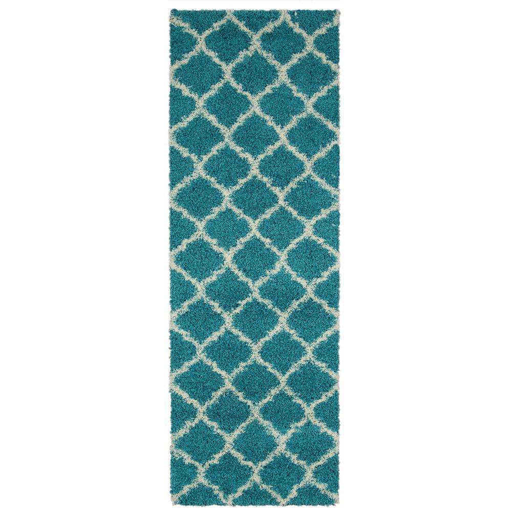 Ottomanson Shag Collection Turquoise Moroccan Trellis Design 3 Ft X