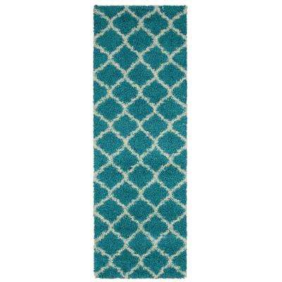 Collection Turquoise Moroccan Trellis Design 3 Ft X 8 Runner Rug