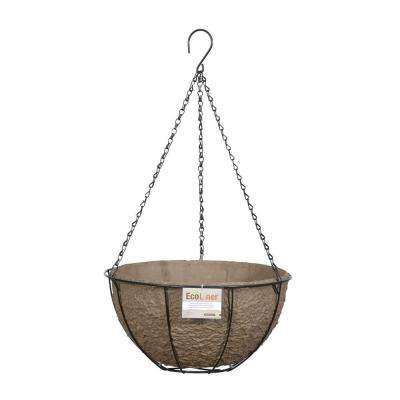 14 in. Metal Hanging Basket with Biodegradable EcoLiner