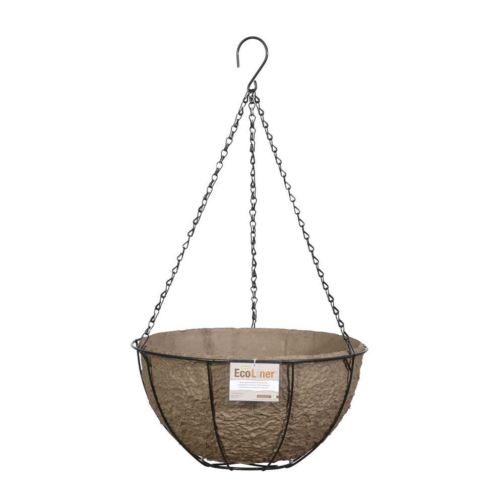 CobraCo CobraCo 14 in. Metal Hanging Basket with Biodegradable EcoLiner, Brown