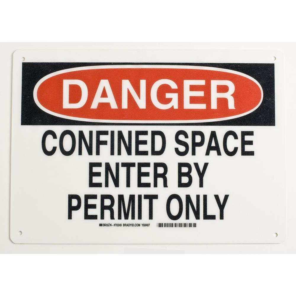 10 in. x 14 in. Fiberglass Confined Space Sign