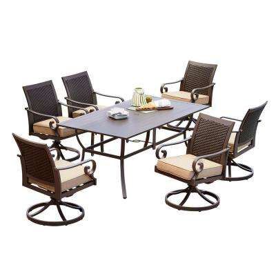 Milano 7-Piece Metal Swivel Outdoor Dining Set with Tan Cushions