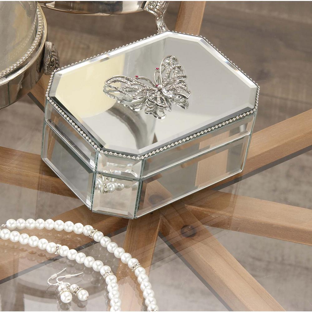6 in. x 3 in. Modern Wooden Butterfly Mirror Box