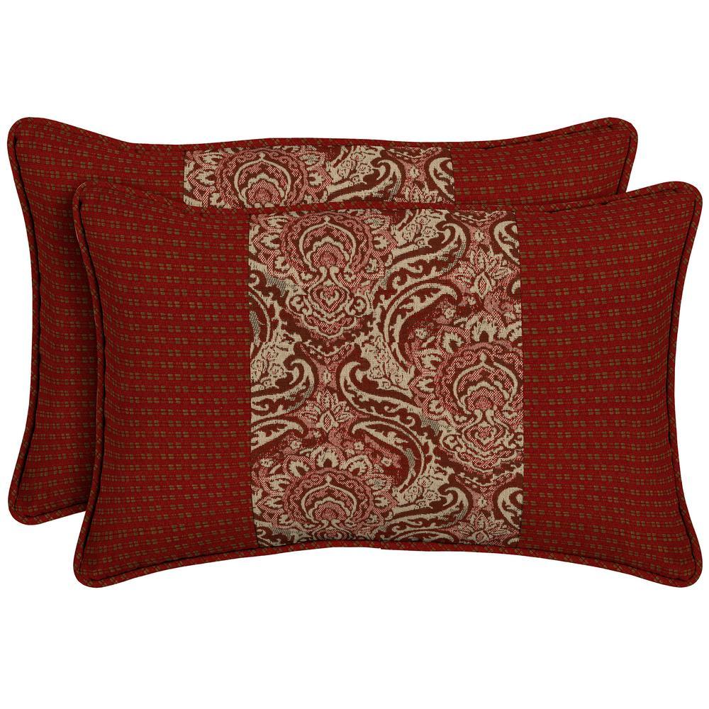 Venice Pieced Face Lumbar Outdoor Throw Pillow (2-Pack)