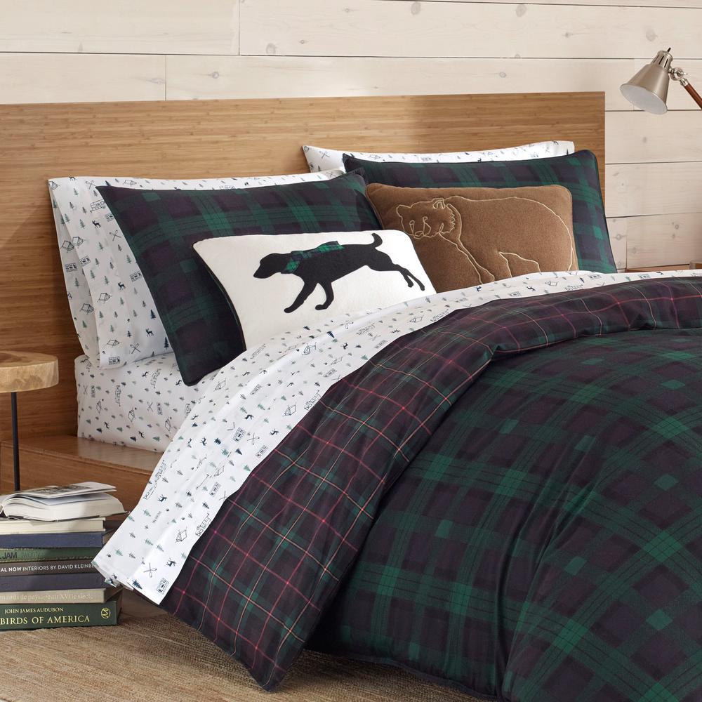 Woodland Tartan Green Plaid Cotton Comforter Set