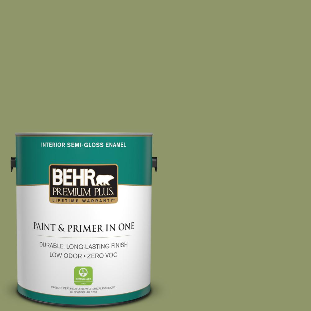 1-gal. #HDC-SP14-2 Exotic Palm Zero VOC Semi-Gloss Enamel Interior Paint