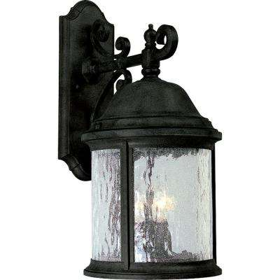 Ashmore Collection 3-Light Large Textured Black Outdoor Wall Lantern