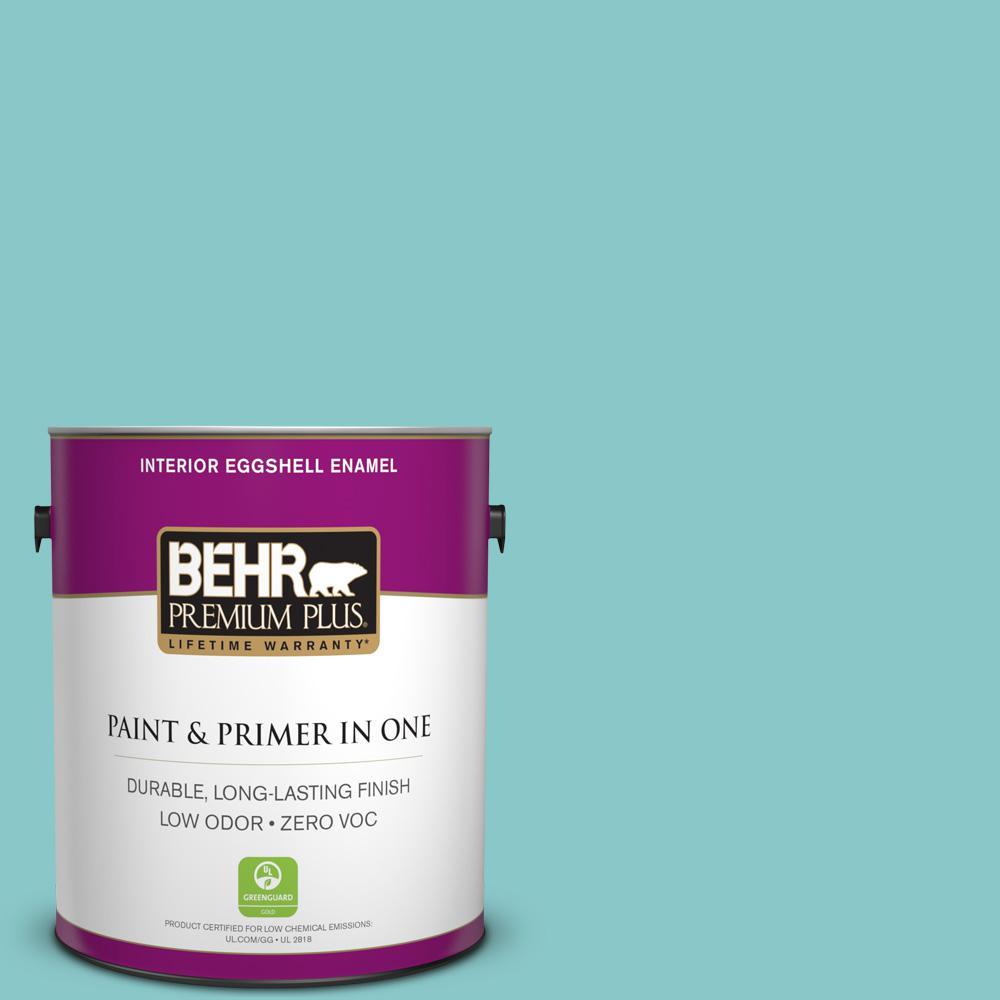 BEHR Premium Plus 1-gal. #510D-4 Embellished Blue Zero VOC Eggshell Enamel Interior Paint