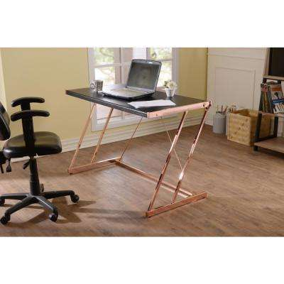 Black and Rose Gold Finis Writing Desk with USB Dock