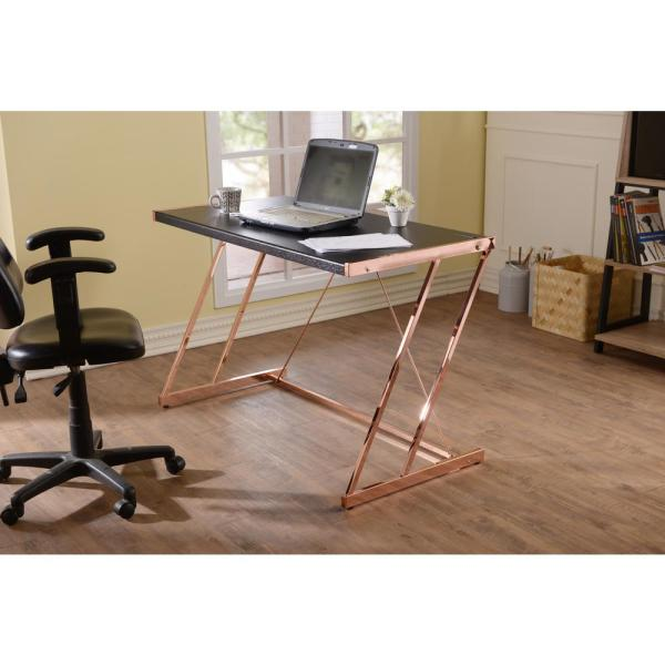 ACME Furniture Black and Rose Gold Finis Writing Desk with USB
