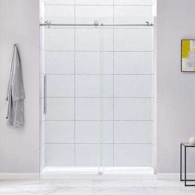 Cambridge 60 in. W x 78.74 in. H Frameless Sliding Shower Door in Chrome