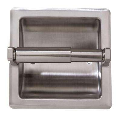 Recessed Toilet Paper Holder with Mounting Plate in Satin Nickel