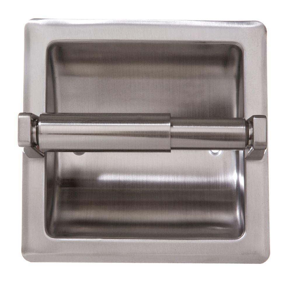 Arista Recessed Toilet Paper Holder With Mounting Plate In Satin Nickel Rtph P Sn The Home Depot