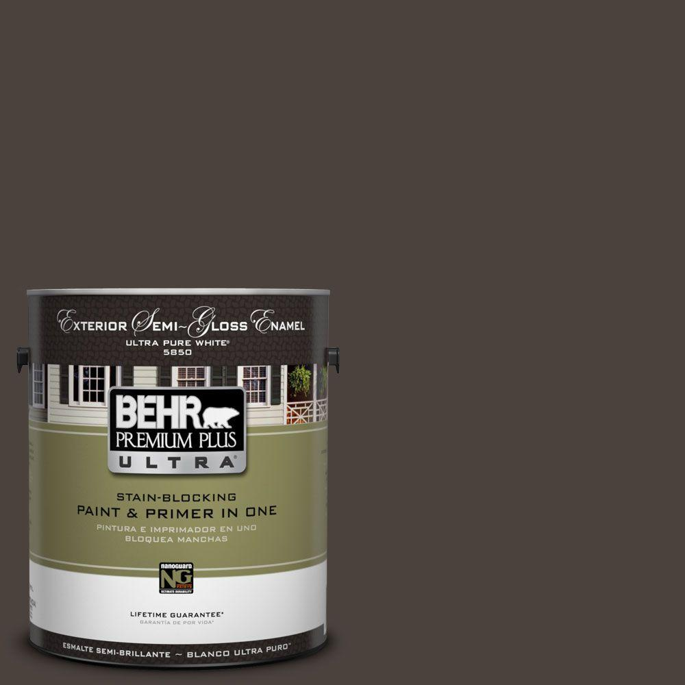 BEHR Premium Plus Ultra 1-Gal. #UL160-23 Espresso Beans Semi-Gloss Enamel Exterior Paint