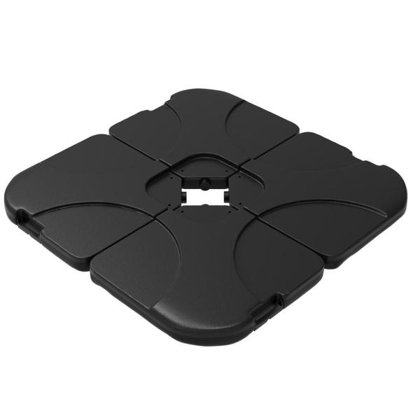 4-Piece Weighted Cantilever and Offset Patio Umbrella Base with Handle in Black